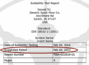 suggested retest date on a suitability report